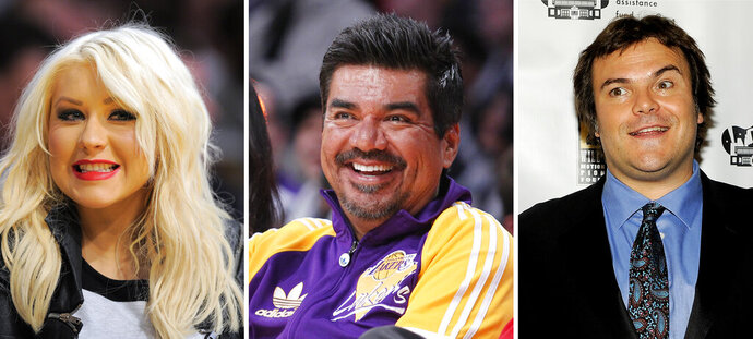 This photo combination shows from left: musician Christina Aguilera in Los Angeles, March 29, 2012, comedian George Lopez in Los Angeles, Dec. 25, 2012, and actor Jack Black in Las Vegas, April 25, 2012. Public relations firms hired by the Department of Health and Human Services vetted the political views of hundreds of celebrities, including Aguilera, Lopez, and Black, for a health education advertising campaign on the coronavirus outbreak. That's according to documents released Thursday by a House committee. (AP Photo)