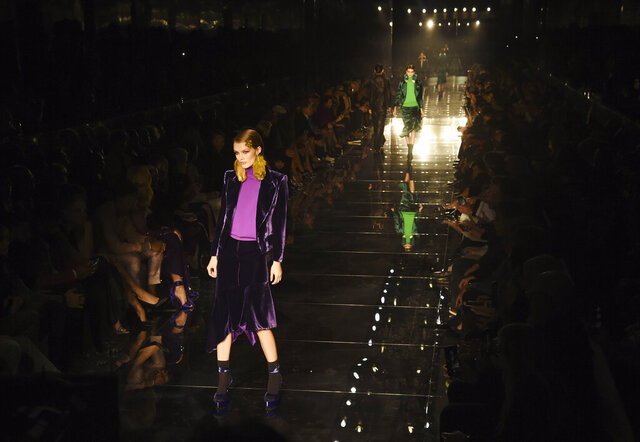 Models walk the runway at the NYFW Fall/Winter 2020 - Tom Ford fashion show at Milk Studios, Friday, Feb. 7, 2020, in Los Angeles. (AP Photo/Chris Pizzello)