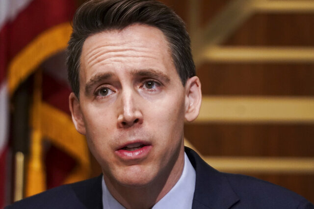Sen. Josh Hawley, R-Mo., asks questions during a Senate Homeland Security & Governmental Affairs Committee hearing to discuss election security and the 2020 election process on Wednesday, Dec. 16, 2020, on Capitol Hill in Washington. (Greg Nash/Pool via AP)