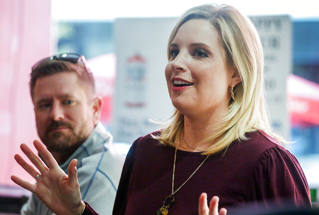 Republican candidate for Iowa's First Congressional District Ashley Hinson speaks to supporters at Jimmy Z's in Cedar Rapids, Iowa, on Tuesday, Nov. 3, 2020. (Jim Slosiarek/The Gazette via AP)