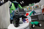Products in the Go Green line of Little Tikes, from MGA Entertainment, are displayed at Toy Fair New York, in the Javits Convention Center, Monday, Feb. 24, 2020.  From Baby Yoda to eco-friendly stacking rings, toymakers displayed an array of goods that they hope will be on kids' wish lists for the holiday 2020 season. The four-day Toy Fair comes as the U.S. toy industry has been whipsawed by a number of obstacles.   (AP Photo/Richard Drew)