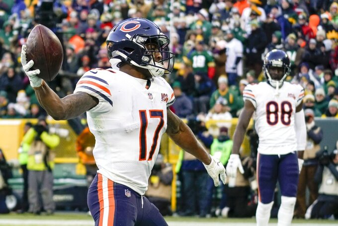 Chicago Bears' Anthony Miller celebrates his touchdown catch during the second half of an NFL football game against the Green Bay Packers Sunday, Dec. 15, 2019, in Green Bay, Wis. (AP Photo/Morry Gash)