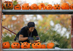 In this Saturday, Oct. 26, 2019 photo a staff member arranges carved pumpkins on a scaffolding at The Halloween Pumpkin Fest in Bucharest, Romania. The Halloween Pumpkin Fest,