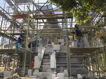 In this July 29, 2019, photo, workers renovate a temple at Prambanan Temple Complex in Yogyakarta, Indonesia. The Indonesian city of Yogyakarta and its hinterland are packed with tourist attractions, including Buddhist and Hindu temples of World Heritage. Yet many tourists still bypass the congested city and head to the relaxing beaches of Bali. Recently re-elected President Joko Widodo wants to change this dynamic by pushing ahead with creating