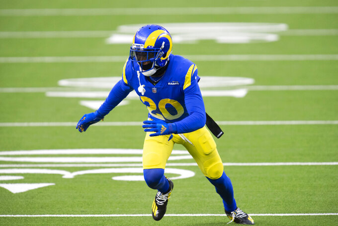 FILE - In this Nov. 29, 2020, file photo, Los Angeles Rams cornerback Jalen Ramsey (20) follows the action during an NFL football game against the San Francisco 49ers in Inglewood, Calif. Ramsey has switched numbers this year, opting to wear No. 5.   (AP Photo/Kyusung Gong, File)