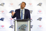 Carolina Panthers NFL football team's new head coach Matt Rhule talks to the media during a news conference at the teams practice facility, Wednesday, Jan. 8, 2020, in Charlotte, N.C. (AP Photo/Mike McCarn)