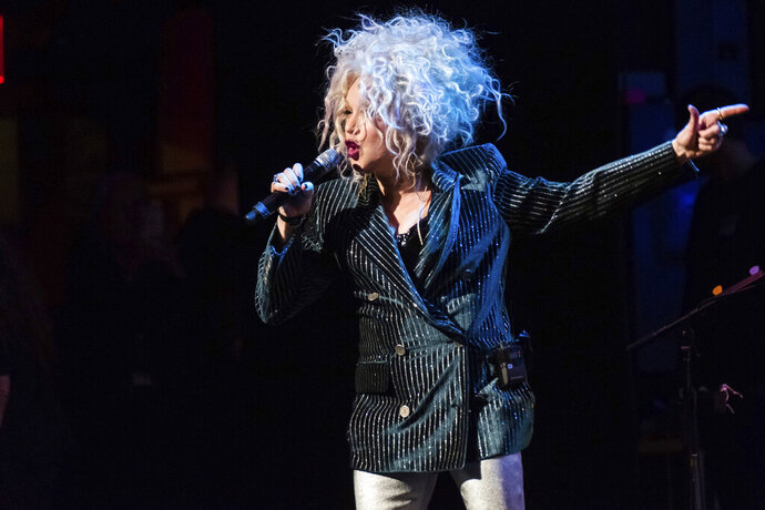 FILE - In this Dec. 8, 2018 file photo, Cyndi Lauper performs at the 8th annual