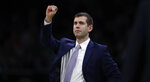 Boston Celtics coach Brad Stevens calls to his players during the first quarter of an NBA basketball game against the Minnesota Timberwolves in Boston, Wednesday, Jan. 2, 2019. (AP Photo/Charles Krupa)