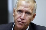 In this Monday, Sept. 30, 2019, photo, U.S. Sen. Thom Tillis responds to questions during an interview in Raleigh, N.C. North Carolina voters were deciding on Super Tuesday which Democrat they believe can unseat Sen. Thom Tillis and whether the current GOP lieutenant governor is the one best suited to oust Gov. Roy Cooper in the fall.(AP Photo/Gerry Broome)