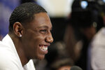 RJ Barrett, a freshman basketball player from Duke, attends the NBA Draft media availability, Wednesday, June 19, 2019, in New York. The draft will be held Thursday, June 20. (AP Photo/Mark Lennihan)