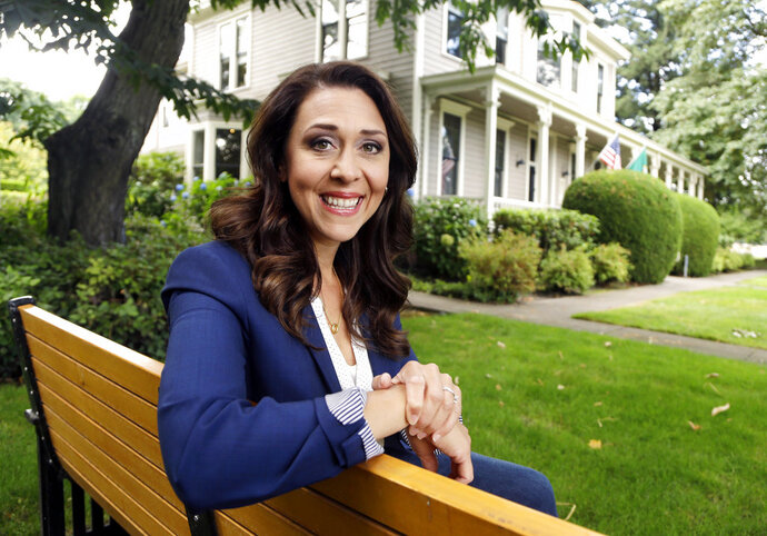 Republican U.S. Rep. Jaime Herrera Beutler, representing southwest Washington state's 3rd Congressional District, poses for a photo in Vancouver, Wash., Aug. 27, 2018. The congressional race in southwest Washington has drawn national attention in a year Democrats see a chance to take control of the U.S. House. (AP Photo/Don Ryan)