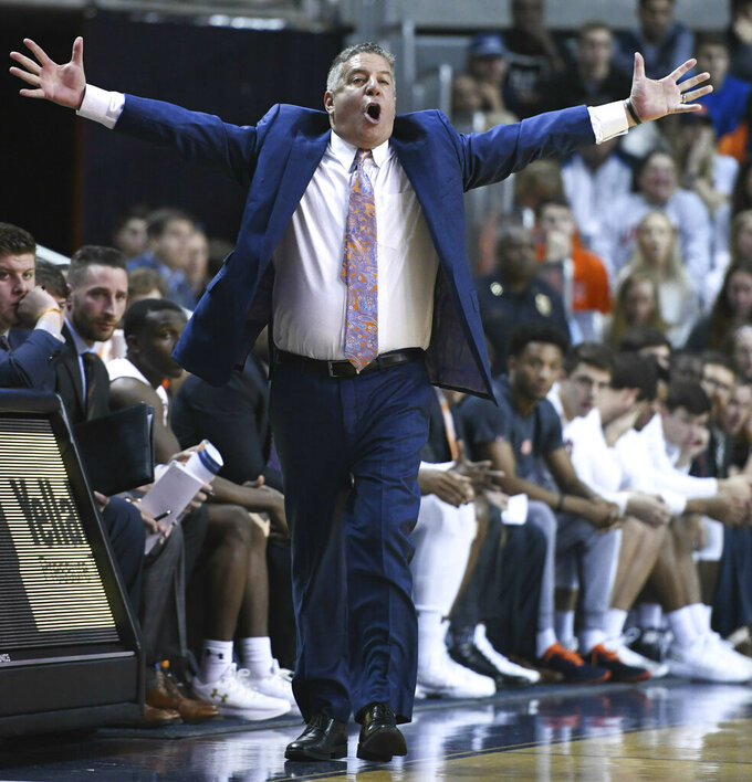 Auburn head coach Bruce Pearl reacts to a play during the first half of an NCAA college basketball game against Georgia Saturday, Jan. 12, 2019, in Auburn, Ala. (AP Photo/Julie Bennett)