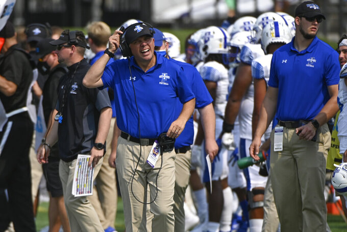 Indiana State head coach Curt Mallory reacts during the first half of an NCAA college football game against Northwestern in Evanston, Ill., Saturday, Sept. 11, 2021. (AP Photo/Matt Marton)