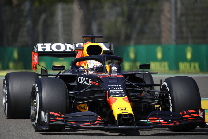 Red Bull driver Max Verstappen of the Netherlands steers his car during free practice for Sunday's Emilia Romagna Formula One Grand Prix, at the Imola track, Italy, Friday, April 16, 2021. (AP Photo/Luca Bruno)