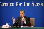 Chinese Foreign Minister Wang Yi speaks during a press conference on the sidelines of the annual meeting of China's National People's Congress (NPC) in Beijing, Friday, March 8, 2019. The U.S.-North Korea summit in Vietnam last week was an