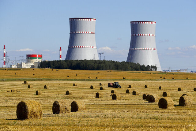 FILE - In this Friday, Aug. 7, 2020 file photo, a view of Belarus's first nuclear plant, near Astravets, Belarus, Friday, Aug. 7, 2020. Belarus' first nuclear power plant stopped generating electricity the day after it was formally opened by President Alexander Lukashenko and some of its equipment needs to be replaced. A Belarusian official told The Associated Press on Tuesday Nov. 10, 2020 that the Russian-built and financed Astravets plant stopped producing power on Sunday because some electrical equipment broke down. (Maxim Guchek/BelTA Pool Photo via AP, File)