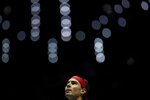 Spain's Rafael Nadal plays against Russia's Karen Khachanov during their Davis Cup tennis match in Madrid, Spain, Tuesday, Nov. 19, 2019. (AP Photo/Bernat Armangue)