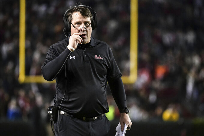 FILE - In this Nov. 2, 2019, file photo, South Carolina head coach Will Muschamp walks on the sideline during the second half of an NCAA college football game in Columbia, S.C. For South Carolina coach Will Muschamp, coming off his worst season in four with the Gamecocks, landing five-star defensive tackle Jordan Burch would be a welcome offseason victory.  (AP Photo/Sean Rayford, File)