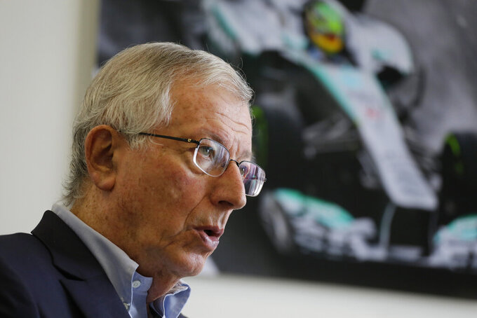In this Oct. 18, 2019 photo, Brazil F1 Grand Prix Promoter Tamas Rohonyi speaks during an interview with The Associated Press ,in Sao Paulo, Brazil. Rohonyi admits any city has the right to bid to host the F1 race, but says there hasn't been any decisive movements to build a viable track in Rio de Janeiro de Janeiro. (AP Photo/Nelson Antoine)