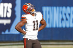 Cleveland Browns wide receiver Donovan Peoples-Jones celebrates after scoring a touchdown against the Tennessee Titans on a 75-yard pass reception in the first half of an NFL football game Sunday, Dec. 6, 2020, in Nashville, Tenn. (AP Photo/Wade Payne)