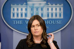 White House press secretary Sarah Huckabee Sanders listens to a question during the daily press briefing at the White House, Tuesday, May 22, 2018, in Washington. Sanders discussed Korea, media access at the EPA and other topics. (AP Photo/Andrew Harnik)