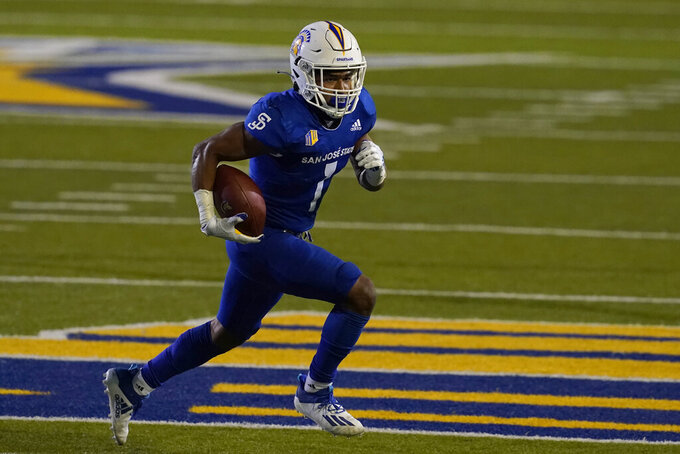 San Jose State wide receiver Isaiah Holiness (1) runs against Air Force during the second half of an NCAA college football game in San Jose, Calif., Saturday, Oct. 24, 2020. (AP Photo/Jeff Chiu)