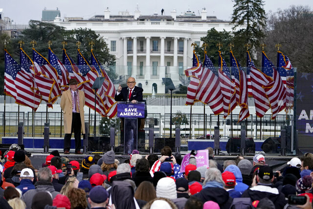 Former New York City Mayor Rudy Giuliani speaks Wednesday, Jan. 6, 2021, in Washington, at a rally in support of President Donald Trump called the