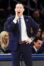 Xavier head coach Travis Steele reacts during the first half of an NCAA college basketball game against Creighton in the Big East men's tournament Thursday, March 14, 2019, in New York. (AP Photo/Frank Franklin II)