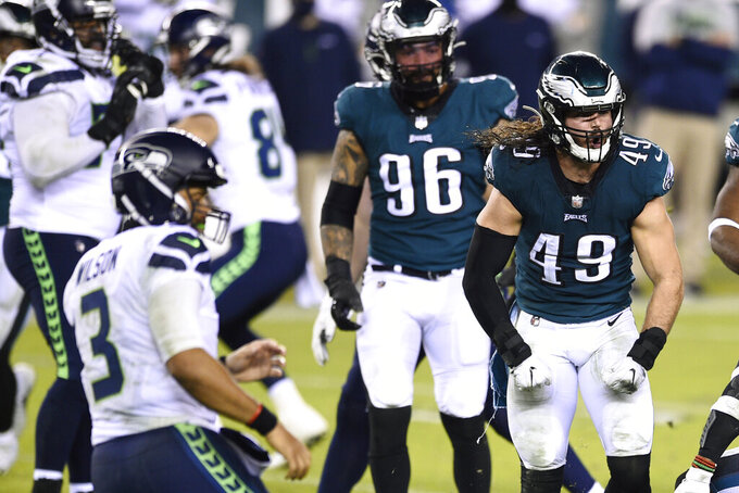 Philadelphia Eagles' Alex Singleton (49) reacts after a tackle during the second half of an NFL football game against the Seattle Seahawks, Monday, Nov. 30, 2020, in Philadelphia. (AP Photo/Derik Hamilton)