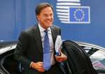 Dutch Prime Minister Mark Rutte arrives for an EU summit at the Europa building in Brussels, Thursday, June 20, 2019. European Union leaders meet in Brussels for a two-day summit to begin the process of finalizing candidates for the bloc's top jobs. (Julien Warnand, Pool Photo via AP)