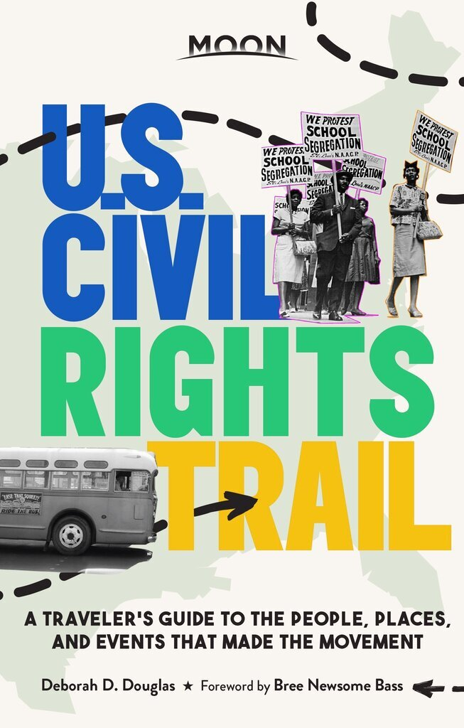 """This photo provided by Perseus Books shows the book cover of  """"Moon U.S. Civil Rights Trail: A Traveler's Guide to the People, Places and Events That Made the Movement""""  From the site where enslaved Africans entered America via the port at Charleston, South Carolina to key cities in Alabama's civil rights movement to Jackson, Mississippi, where Medgar Evers was killed, """"Moon U.S. Civil Rights Trail: A Traveler's Guide to the People, Places and Events That Made the Movement"""" gives readers an in-depth look at past events and shows how eerily similar those events mirror the present.  (via AP)"""