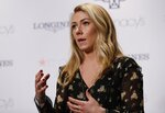 Mikaela Shiffrin responds to questions during a news interview Thursday, March 21, 2019, in New York.  The 24-year-old American spent time in New York to celebrate an unprecedented 17 World Cup wins and her third straight overall title.(AP Photo/Frank Franklin II)