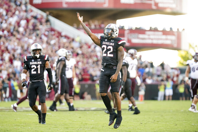 South Carolina defensive back Steven Montac (22) celebrates a play during the second half of an NCAA college football game against Texas A&M Saturday, Oct. 13, 2018, in Columbia, S.C. Texas A&M defeated South Carolina 26-23. (AP Photo/Sean Rayford)