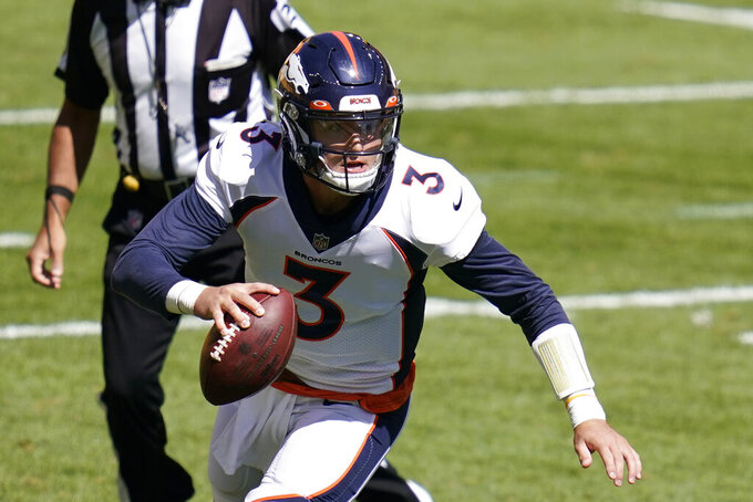 Denver Broncos quarterback Drew Lock (3) looks to pass during the first half of an NFL football game against the Pittsburgh Steelers, Sunday, Sept. 20, 2020, in Pittsburgh. (AP Photo/Keith Srakocic)