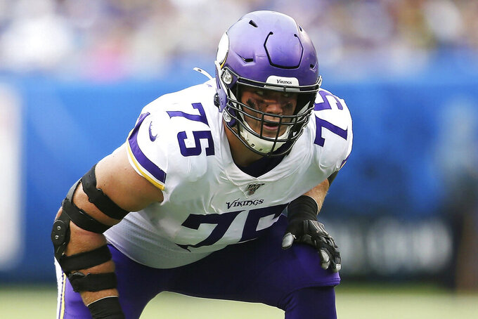 FILE - In this Oct 6, 2019, file photo, Minnesota Vikings offensive tackle Brian O'Neill (75) get set during an NFL football game against the New York Giants in East Rutherford, N.J. The Vikings have signed O'Neill to a contract extension. (AP Photo/Vera Nieuwenhuis, File)