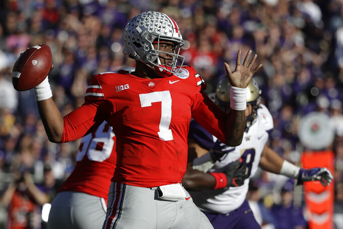 Ohio State quarterback Dwayne Haskins passes against Washington during the first half of the Rose Bowl NCAA college football game Tuesday, Jan. 1, 2019, in Pasadena, Calif. (AP Photo/Jae C. Hong)