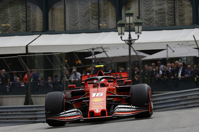 Ferrari driver Charles Leclerc of Monaco steers his car during the second practice session at the Monaco racetrack, in Monaco, Thursday, May 23, 2019. The Formula one race will be held on Sunday. (AP Photo/Luca Bruno)