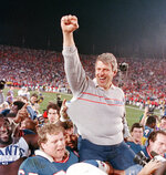 FILE - In this Jan. 25, 1987, file photo, New York Giants coach Bill Parcells is carried off the field after the Giants defeated the Denver Broncos, 39-20, in Super Bowl XXI in Pasadena, Calif. (AP Photo/Eric Risberg, File)