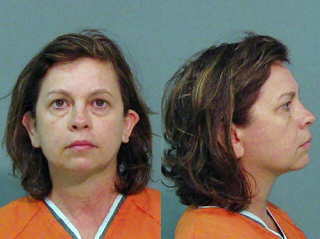This Aug. 31, 2018, booking photo provided by the York County Sheriff's Office, in South Carolina, shows Lana Sue Clayton. Clayton pleaded guilty, Thursday, Jan. 16, 2020, to fatally poisoning her husband by putting eyedrops into his water for days. She was sentenced to 25 years in prison. (York County Sheriff's Office via AP)