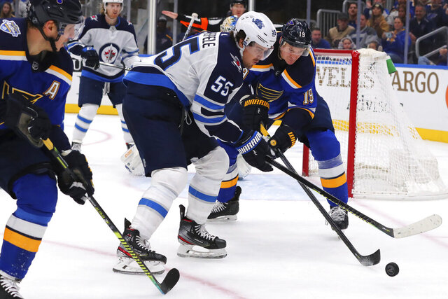 Winnipeg Jets center Mark Scheifele (55) controls the puck against St. Louis Blues defenseman Jay Bouwmeester (19) during the first period of an NHL hockey game Sunday, Dec. 29, 2019 in St. Louis. (AP Photo/Dilip Vishwanat)