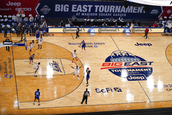 Georgetown and Seton Hall play during the first half of an NCAA college basketball game in the semifinals of the Big East men's tournament Friday, March 12, 2021, in New York. (AP Photo/Frank Franklin II)
