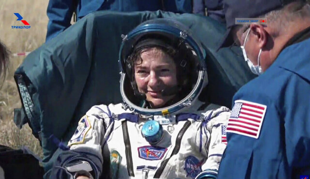 In this photo made from video footage released by Roscosmos space agency U.S. astronaut Jessica Meir sits in a chair shortly after the landing of the Russian Soyuz MS-15 space capsule near the town of Dzhezkazgan, Kazakhstan, Friday, April 17, 2020. An International Space Station crew has landed safely after more than 200 days in space. The Soyuz capsule carrying NASA astronauts Andrew Morgan, Meir and Russian space agency Roscosmos' Oleg Skripochka touched down on Friday on the steppes of Kazakhstan. (Roscosmos Space Agency via AP)