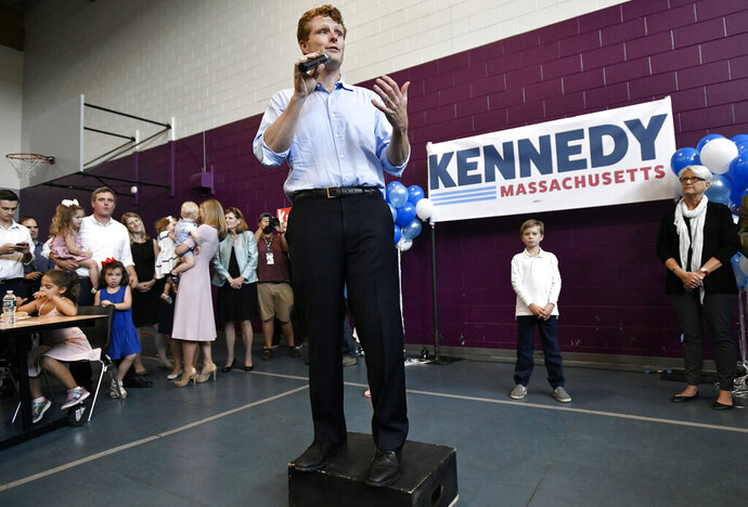 Democratic U.S. Rep. Joseph Kennedy III, D-Mass., announces his candidacy for the Senate on Saturday, Sept. 21, 2019, in Boston. Kennedy will challenge incumbent Sen. Ed Markey in the Democratic primary. (AP Photo/Josh Reynolds)