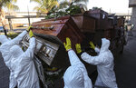 Workers collect and stack the coffins of people that have been recently cremated amid the new coronavirus pandemic at La Recoleta cemetery, amid the new coronavirus pandemic in Santiago, Chile, Tuesday, June 30, 2020. The coffins are collected and destroyed by a company specializing in organic waste. (AP Photo/Esteban Felix)
