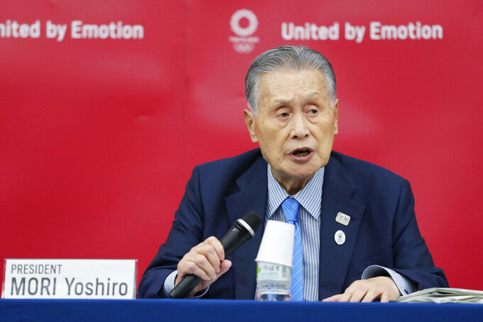 FILE - In this July 17, 2020, file photo, Tokyo 2020 Organizing Committee President Yoshiro Mori speaks during a press conference in Tokyo.  Mori says the delayed games could not be held next year if conditions surrounding the coronavirus pandemic continue as they are. In an interview aired Wednesday, July 22, with Japanese broadcaster NHK, Mori said he was hopeful the situation would improve and suggested a vaccine was the key.(Kyodo News via AP, File)/Kyodo News via AP)
