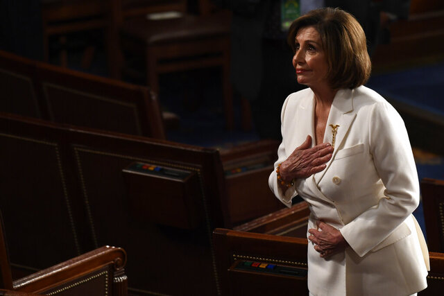 House Speaker Nancy Pelosi of Calif., bows to the guests seated in her gallery seats after President Donald Trump delivered his State of the Union address to a joint session of Congress on Capitol Hill in Washington, Tuesday, Feb. 4, 2020. (AP Photo/Susan Walsh)