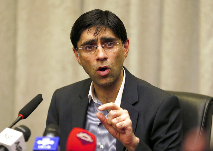 Pakistan's National Security Advisor Moeed Yusuf gives a news conference, in Islamabad, Pakistan, Wednesday, Sept. 15, 2021. Yusuf said Wednesday that he hoped the new Taliban government will not allow any militant group, including Tehrik-e-Taliban Pakistan, to use the Afghan soil for attacks against Pakistan or any other country. (AP Photo/Anjum Naveed)