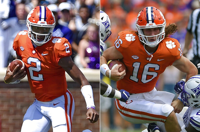 FILE - At left, in a Sept. 1, 2018, file photo, Clemson starting quarterback Kelly Bryant scrambles out of the pocket during the first half of an NCAA college football game against Furman, in Clemson, S.C. At right, also in a Sept. 1, 2018, file photo, Clemson freshman quarterback Trevor Lawrence (16) is tackled by Furman during the first half of an NCAA college football game in Clemson, S.C.  (AP Photo/Richard Shiro, File)