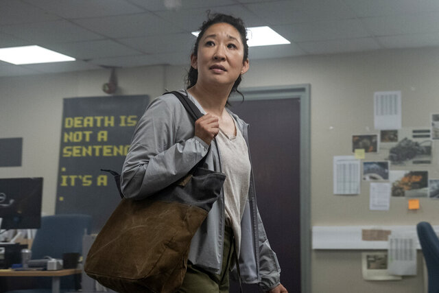 This image released by BBC America shows Sandra Oh as Eve Polastri in a scene from