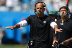 New York Jets head coach Robert Saleh gestures during the first half of an NFL football game against the Carolina Panthers Sunday, Sept. 12, 2021, in Charlotte, N.C. (AP Photo/Nell Redmond)